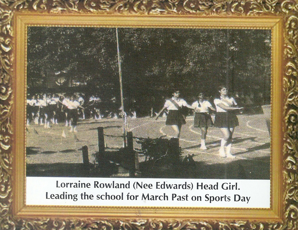 Lorraine Rowland (Nee Edwards) Head Girl. Leading the school for March Past on Sports Day.